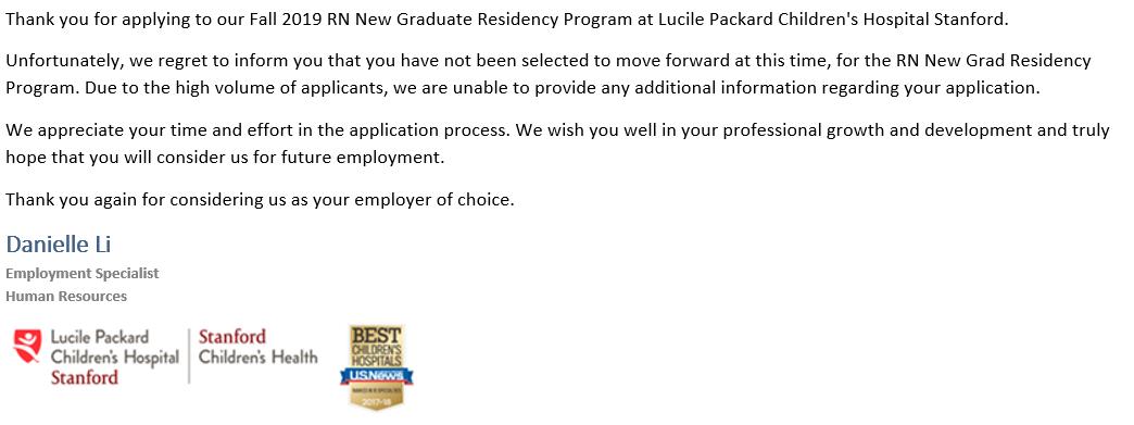 Lucille Packard Stanford Children's New Grad Fall 2019 - First Job