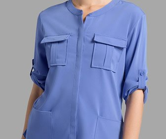 View the product Cuffed Sleeve Button Down Top by JAANUU